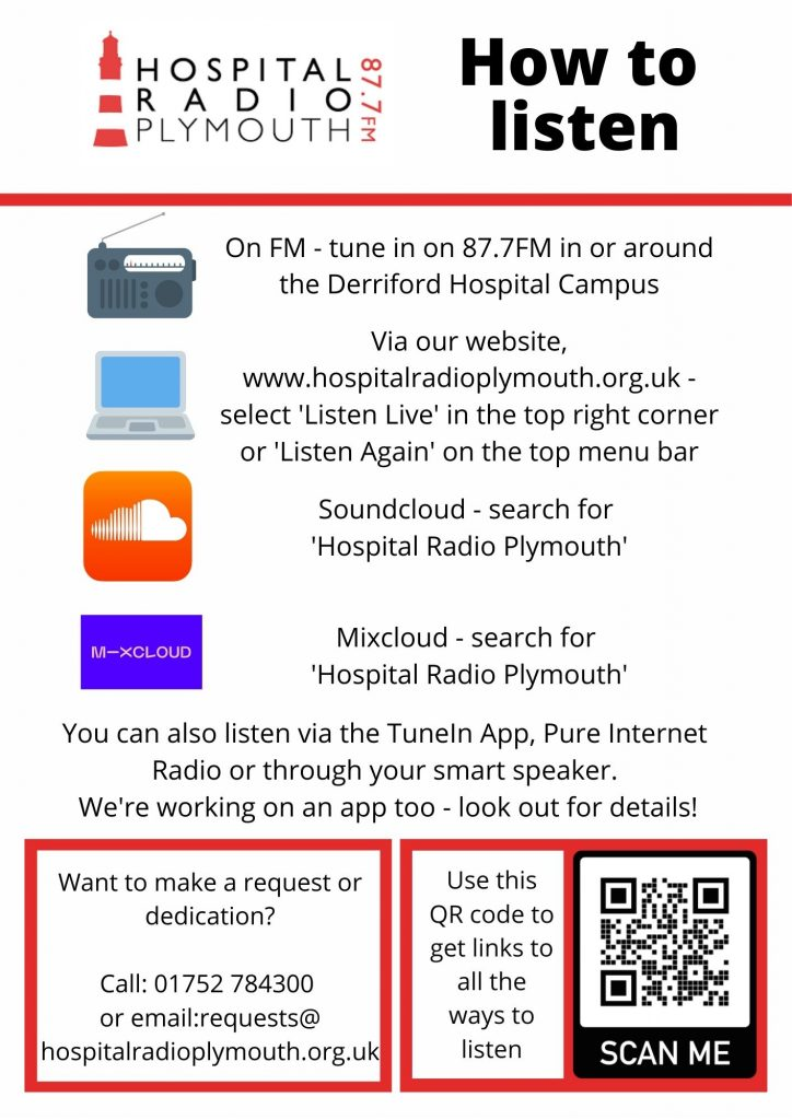 List of ways to listen to Hospital Radio Plymouth 87.7FM