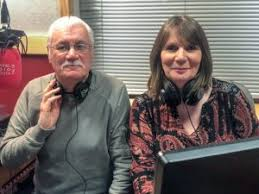 Requesline presenters Steve Glanville and Jill Bright sat next to each other in a radio studio